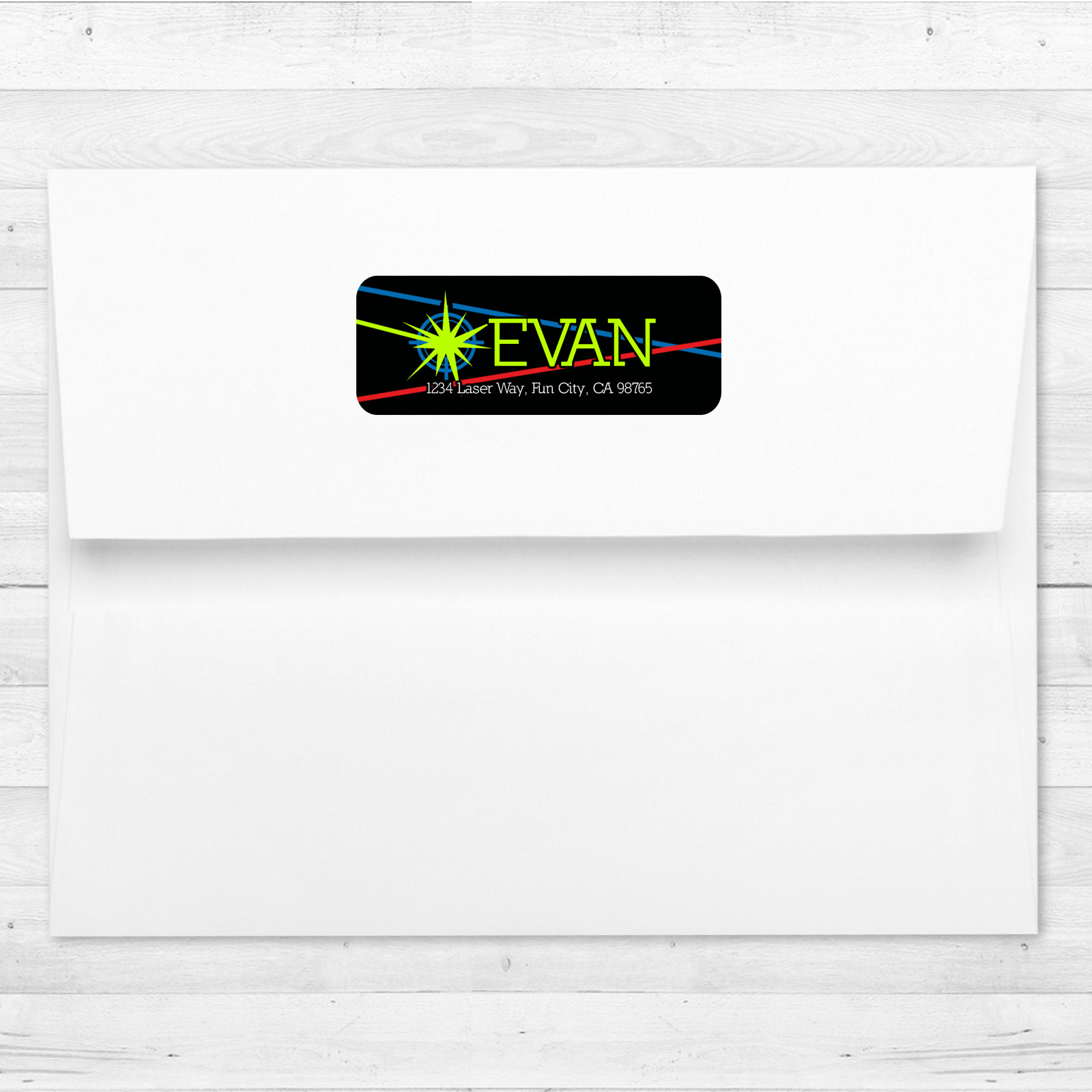 30 laser tag birthday party personalized return address labels