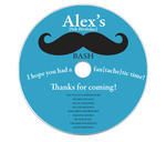 6 MUSTACHE PARTY Birthday Personalized CD LABELS