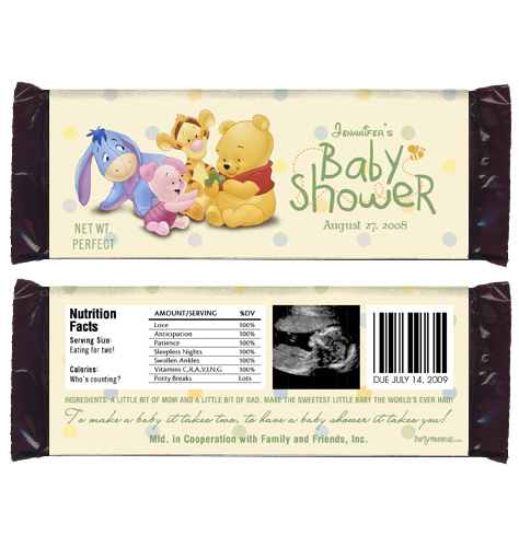about 6 baby pooh baby shower favor personalized candy wrappers
