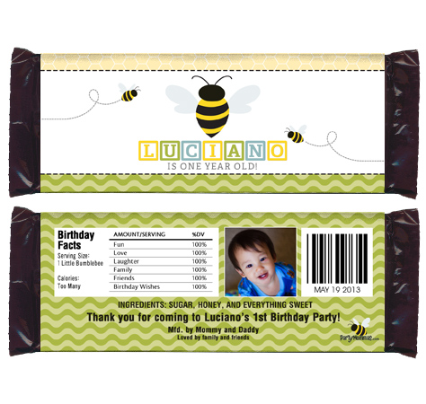 6 BUMBLEBEE Birthday OR Baby Shower CANDY WRAPPERS vs. 1