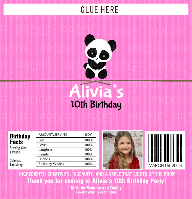12 Panda Theme Baby Shower Candy Wrappers