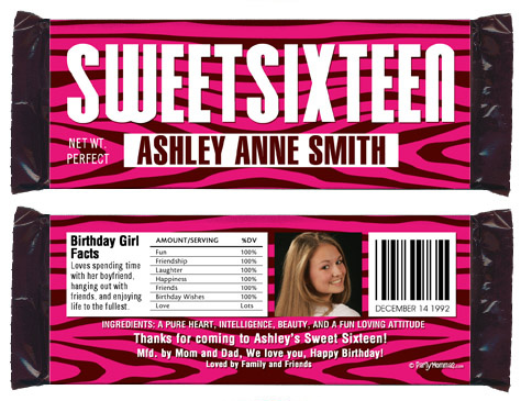 Favors Personalized Mini Bubble Labels 30 Hot Pink Zebra Sweet 16 all ages