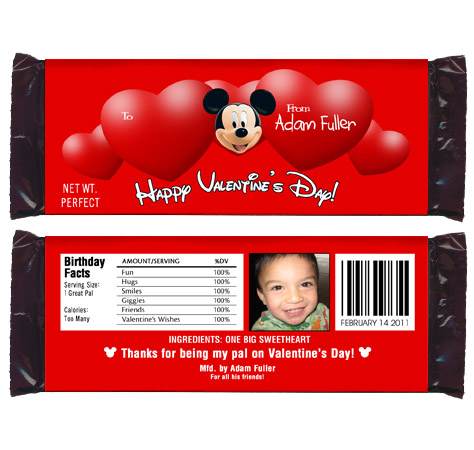 6 valentines day mickey mouse candy wrappers