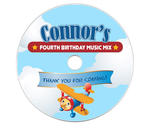 6 AIRPLANE JET 1st Birthday Party CD Music Labels