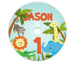 6 JUNGLE ZOO ANIMALS Party Favors CD LABELS