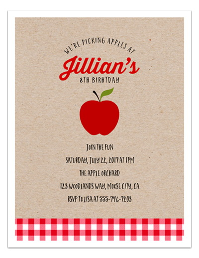 8 Apple Orchard Birthday Invitations