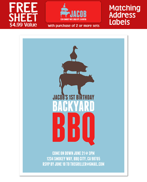 8 BACKYARD Barbeque BBQ Birthday Personalized INVITATIONS