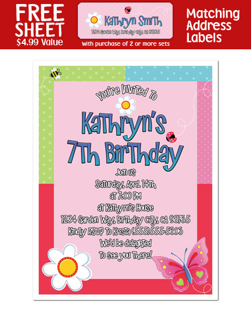 8 BUTTERFLY GARDEN PARTY Party INVITATIONS