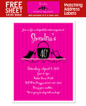 8 HEELS AND PURSE Birthday Party INVITATION