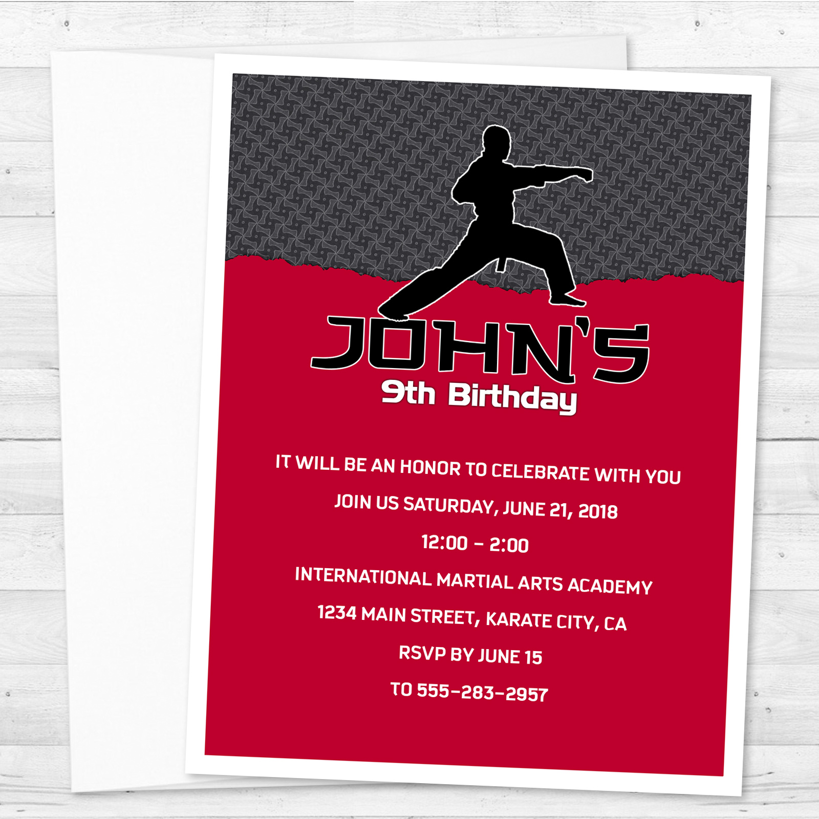 8 Karate Martial Arts Birthday Party Personalized Invitations