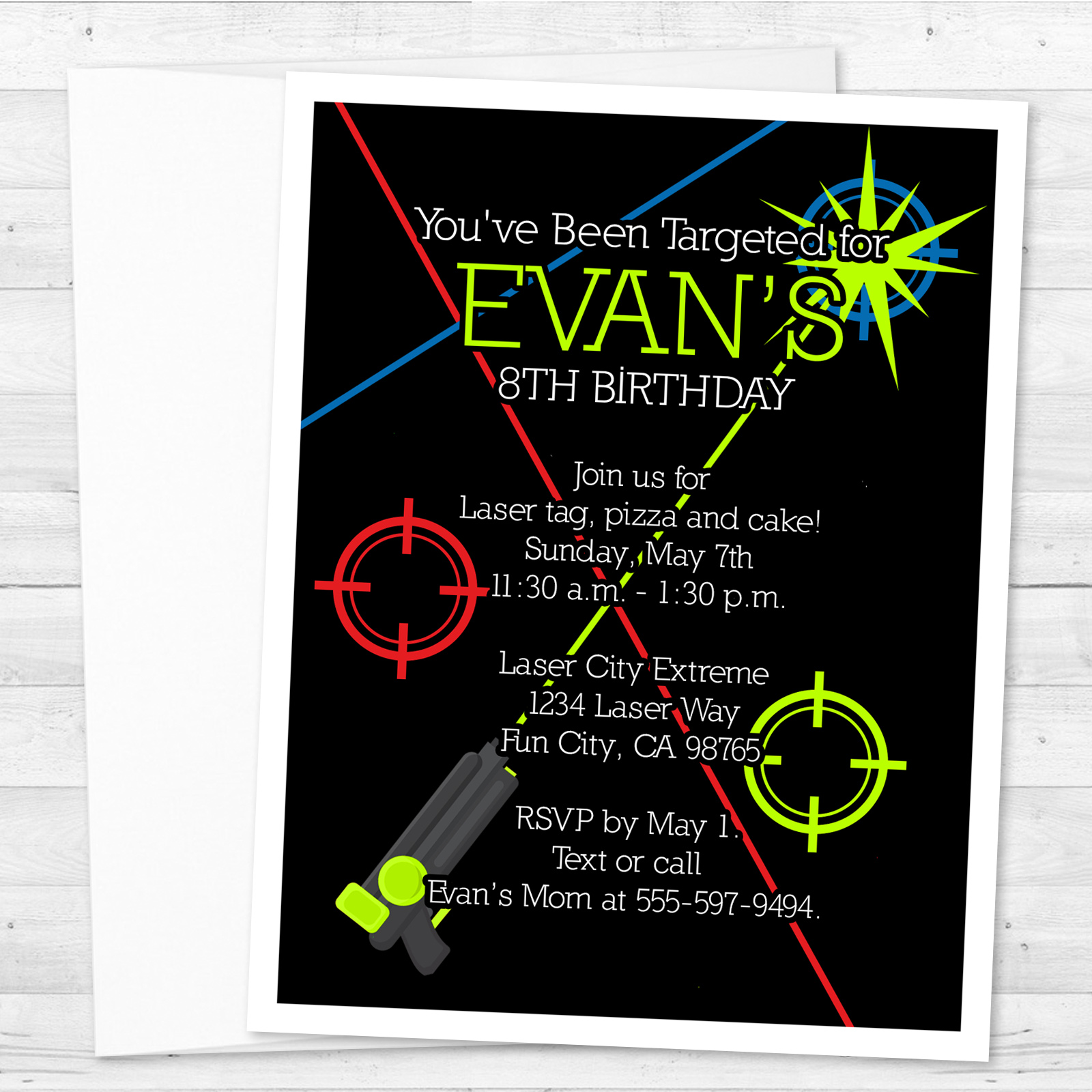 8 Laser Tag Invitations