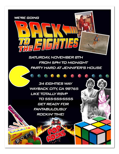 8 PHOTO EIGHTIES 80's Birthday Party INVITATION Vs 2