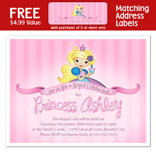 PINK PRINCESS Girl Pink 1st Birthday Party INVITATIONS – 1st Birthday Princess Invitation