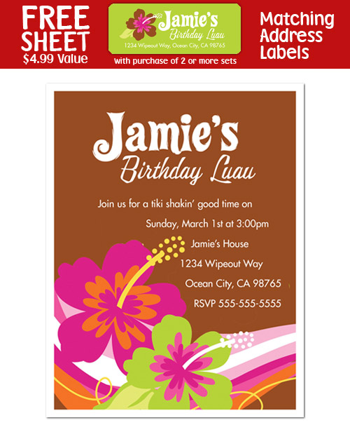 luau birthday party invitations, Birthday invitations