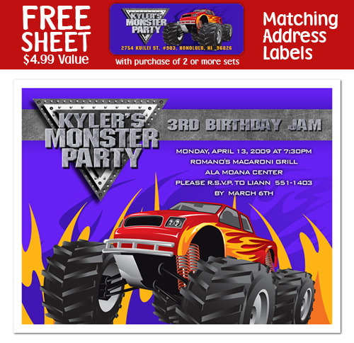 8 Monster Truck Birthday Party Invitations | eBay