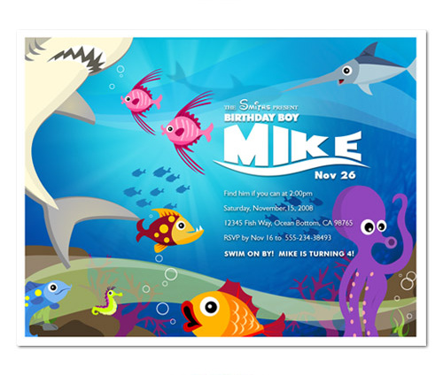 sea nemo mermaid birthday party invitations - Under The Sea Party Invitations
