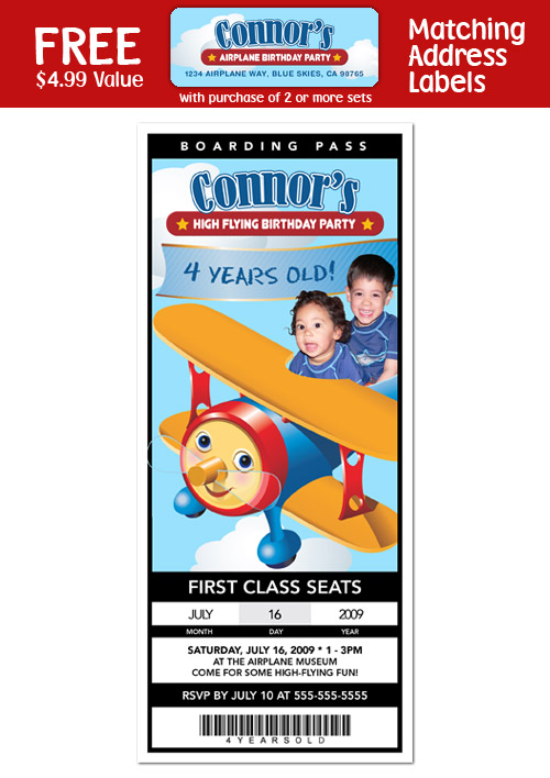 Details about 6 AIRPLANE JET 1st Birthday Party TICKET Invitations