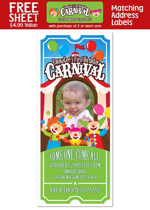 6 CARNIVAL CIRCUS CLOWN Birthday TICKET INVITATIONS
