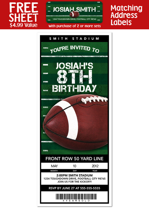 6 FOOTBALL Birthday Party Ticket Style INVITATIONS – Ticket Style Birthday Invitations