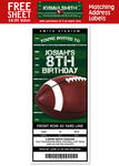 6 FOOTBALL Birthday Party Ticket Style INVITATIONS