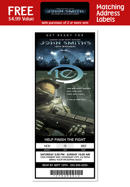Details about 6 HALO MASTER CHIEF Birthday Party TICKET Invitations