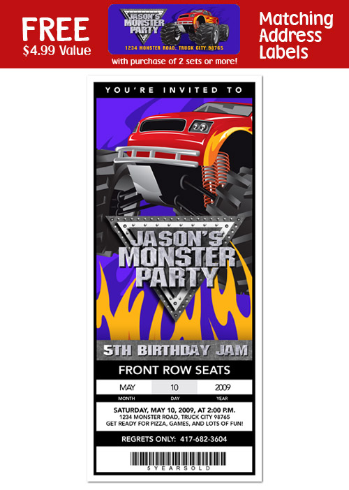 6 MONSTER TRUCK Birthday Party Invitation Ticket
