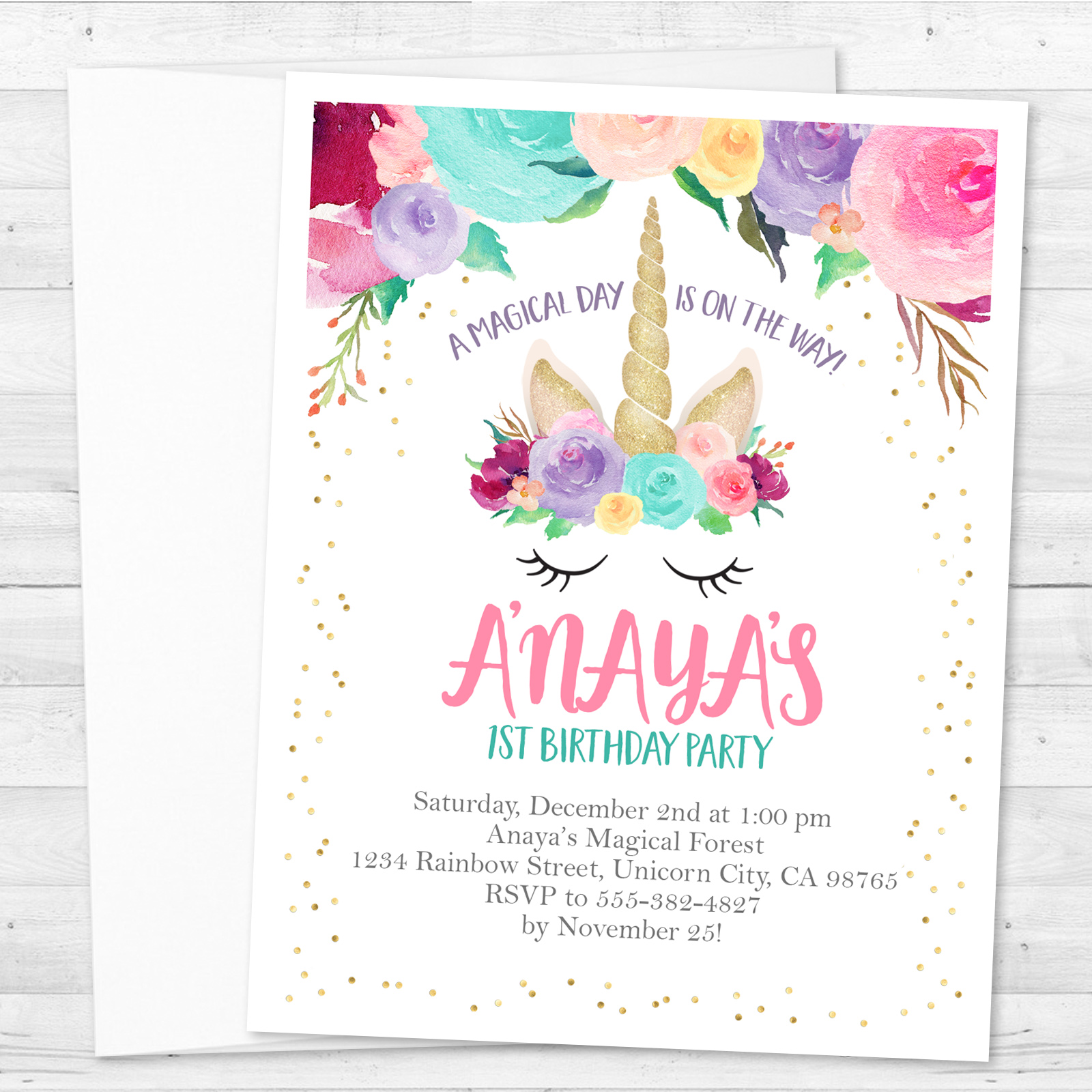8 Unicorn Birthday Party Personalized Invitations