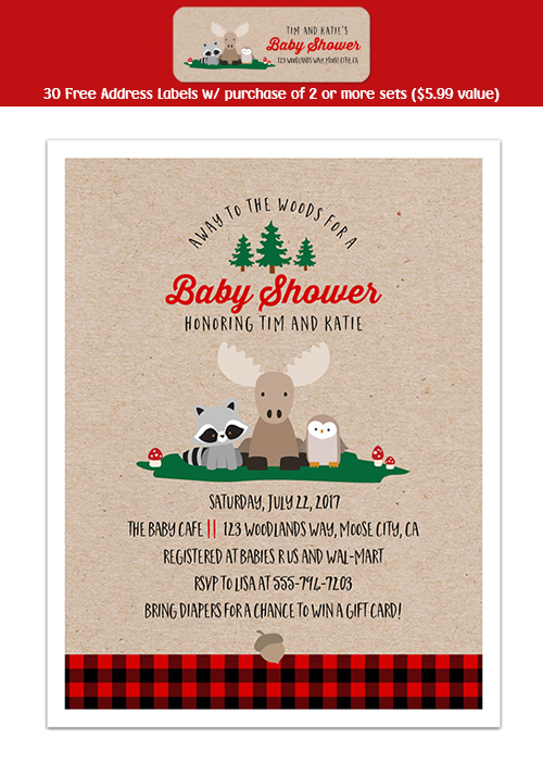 8 WOODLAND Baby Shower Personalized INVITATIONS