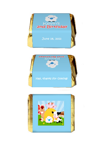 30 BARNYARD FARM Birthday Favor Candy NUGGET LABLES