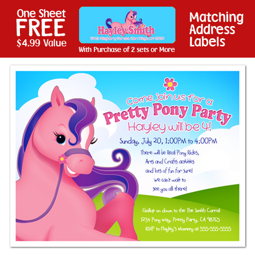 pink pony horse cowgirl birthday invitations, Party invitations