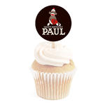 12 SOCK MONKEY 1st First Birthday (all ages) or Baby Shower Personalized 2 inch round CUPCAKE TOPPERS