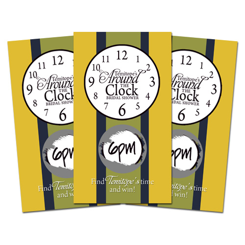10 AROUND THE CLOCK Bridal Shower SCRATCH OFF GAMES