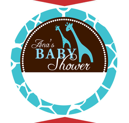 6 Blue Giraffe Baby Shower Name Tag Stickers