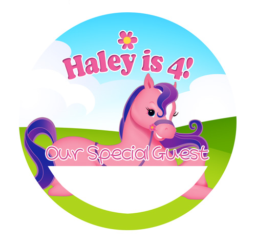 6 pink pony horse cowgirl birthday name tag stickers