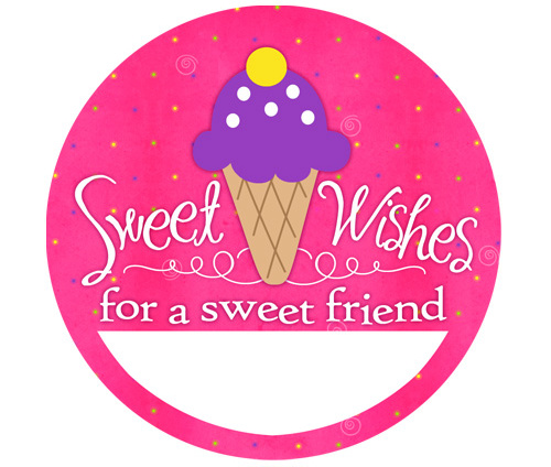 6 sweet candy wishes birthday party name tag stickers