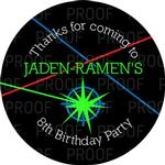 12 LASER TAG Birthday TREAT BAG STICKERS