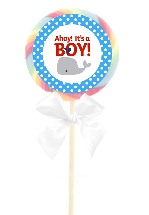 12 Nautical Whae Ocean Baby Shower Birthday Party 2.5 inch LOLLIPOP STICKERS