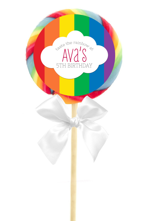 rainbow birthday party personalized lollipop stickers  ebay, Birthday invitations
