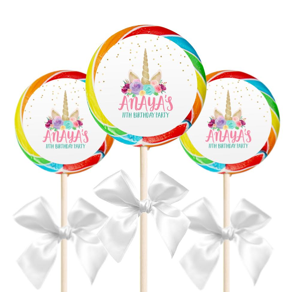 """12 Rainbow Birthday Party Favors Personalized 2.5/"""" Lollipop Stickers"""