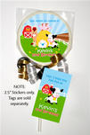 12 BARNYARD FARM Birthday LOLLIPOP STICKERS