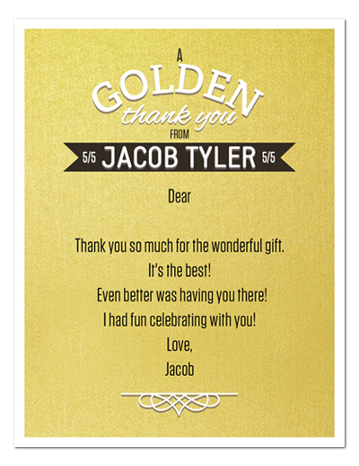 8 GOLDEN BIRTHDAY Party THANK YOU NOTES