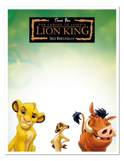 8 The Lion King Movie Birthday Party Thank You Notes Ebay