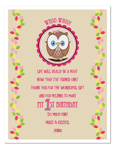 8 OWL Birthday Favors THANK YOU NOTES