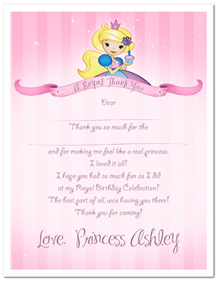 Pink Princess 1st Birthday Party Thank You Cards