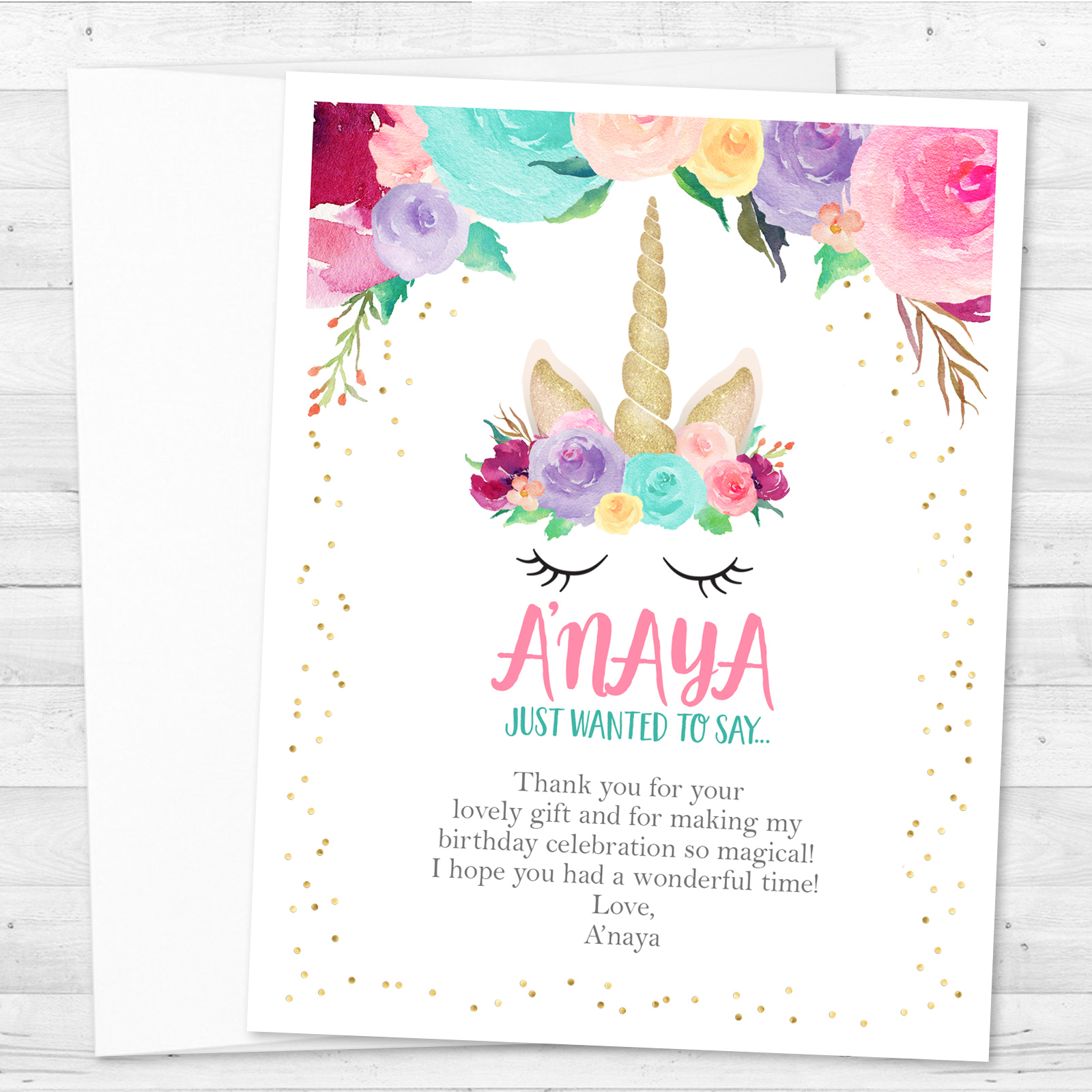 8 Unicorn Birthday Party Personalized Thank You Notes