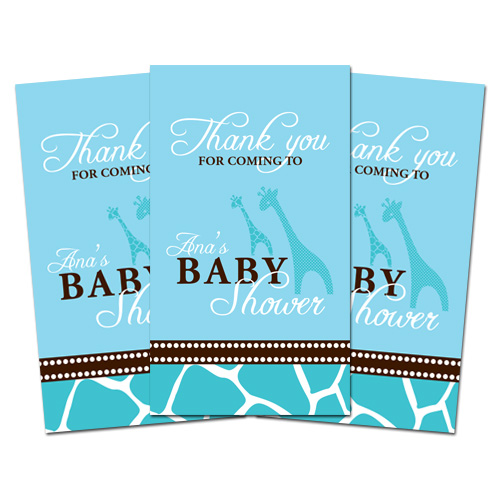 10 blue giraffe baby shower thank you tags