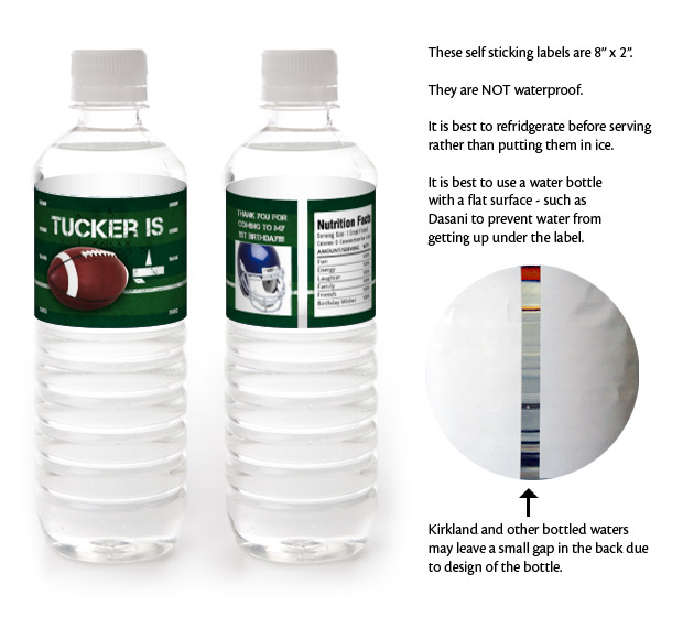 10 FOOTBALL Birthday Party WATER BOTTLE LABELS