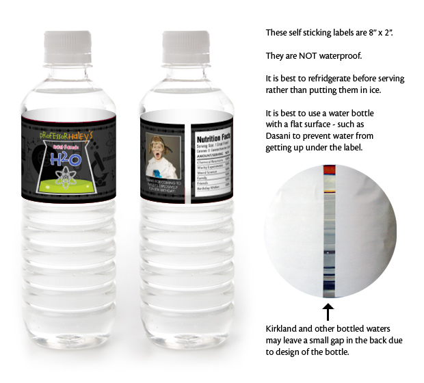 5 SCIENCE Birthday WATER BOTTLE LABELS