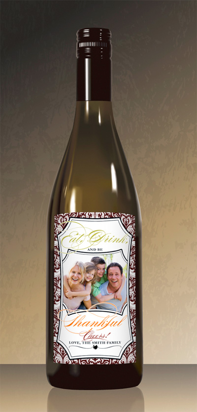 8 THANKSGIVING Favors WINE BOTTLE LABELS vs. 1 with a family photo